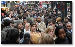 New York City sidewalk, NYC crowds, the Big Apple, crowded sidewalk
