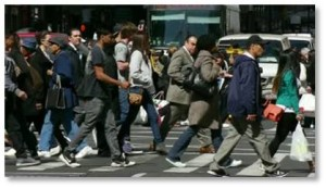 New York City street, NYC crowd, crossing the street