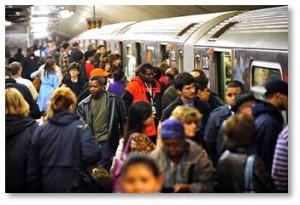 New York City subway, NYC crowd, crowded subway