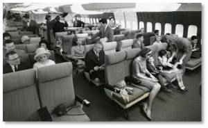 airplane crowding, coach class 1960s, airplane legroom
