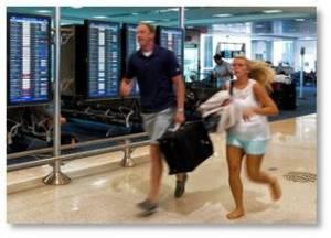 American Airlines, peak scheduling, running through airport, rush hour