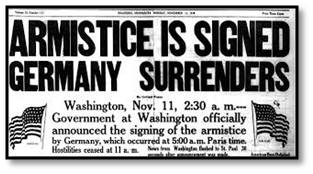 Armistice Signed, Armistice Day, World War I, WWI, newspaper headline
