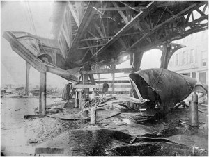 Great Molasses Flood, Boston, Commercial Street, elevated train tracks