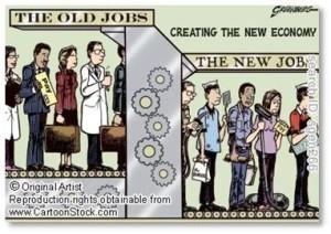 Hank Greenberg, cartoon, underemployment, the new jobs