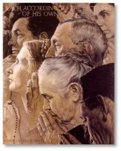 Freedom of Worship by Norman Rockwell, the Four Freedoms