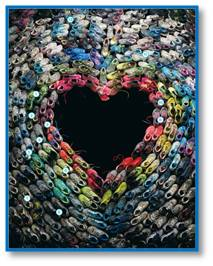 heart made of running shoes from the Boston Marathon