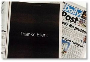 Thanks Ellen Ad taken out by supporters in the Daily News