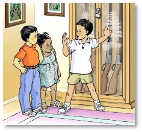 gun safety cartoon, children with rifles in gun safe