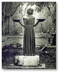 The Bird Girl sculpture by Sylvia Shaw Judson has been relocated to the Telfair Museum.