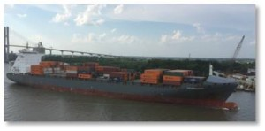 Savannah is the third largest container port in the country so we could look out our window to see a variety of marine traffic. There were enormous container ships, fully loaded and almost top heavy, gliding serenely along. Their grace and pace belied their enormous weight and size.
