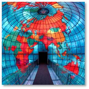 Posts About Boston: The Mapparium is an enormous stained glass globe that's 30 feet wide and three stories tall. You walk through it on a glass bridge that gives you at 360° view from the center of the earth looking outward.