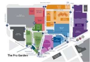 The Pru Garden is easy to reach by public transportation and the Prudential Center includes a large underground parking garage. It's also accessible by escalator from Boylston Street or Huntington Avenue and by skywalk from the Copley Place shopping mall across Huntington Avenue