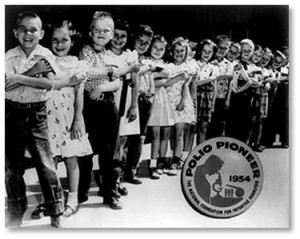 When the Salk polio vaccine came out, we got that, too. Literally everyone knew some family or person affected by polio; after all, President Roosevelt became the poster child for polio when it was revealed after the war that he could not walk.