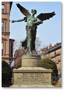 Posts About Boston: The angel was sculpted by Daniel Chester French, the man who created the monumental president who sits in Washington's Lincoln Memorial. He collaborated with Architect Henry Bacon on that structure as well as on this—the last thing they worked on together.