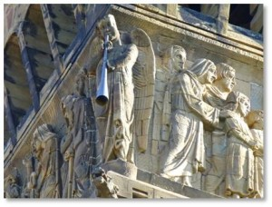 The Brattle Square angels ornament the four corners of the Italianate campanile, or bell tower, attached to the First Baptist Church in Boston's Back Bay. Both the church and the frieze on the campanile have interesting stories.