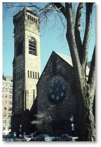 The church itself was designed by Henry Hobson Richardson in 1869 in the Greek cross design. It was his third church and his first important Boston commission, awarded to him by the Brattle Square Unitarian Church. The church's congregation, which had once included John Hancock and both Presidents Adams as well as governors and chief justices of the Commonwealth, was declining in a neighborhood that had become commercialized. (Brattle Street is now gone, demolished when Government Center was created.)