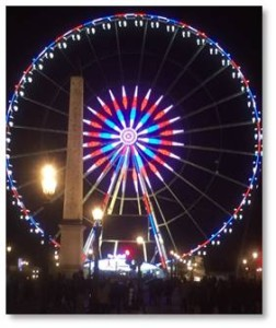 This is a huge combination of craft fair, food mart, county fair, theme park and Christmas light show. It runs for a half mile along both sides of the Champs Elysées near the Place de la Concorde.