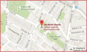 The Old North Church is not difficult to find. It's at the corner of Hull and Salem streets in the North End and is a stop on Boston's Freedom Trail. The church's white spire rises above the neighborhood's brick buildings. It's located near the T's Haymarket and North Station stops on either the green or orange MBTA metro lines and commuter rail. A short walk will take you to the church.