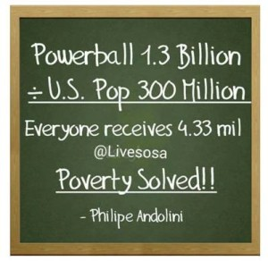 My father is no longer with us so a man named Phillippe Andolini has applied basic math skills to today's Powerball mania. He says that if you divide the $1.3 billion jackpot by the United States population of $300 million, everyone would receive—are you ready for this--$9.33 million. What? Are you kidding? Nope. Ifit was only divided equally, the problem of poverty in the Unite States would be solved overnight. Brilliant!