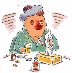 Oy! When you've got a cold, you hurt all over, especially your chest. Coughing, post-nasal drip and / or a runny nose, achy ears, scratchy throat, sneezing, even headache accompany the pain. (Not fever, though. If you have a fever, you may have the flu.)