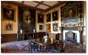 In the early eighteenth century, the Hon. Robert Sawyer Herbert began collecting the art that we see on the walls. It includes many portraits of the earls and countesses of Carnarvon as well as their children. The artists and sculptors represented include Sir Joshua Reynolds, Anthony van Dyck, Piero Della Francesca, Sir Peter Lely, Sir William Beechey, and Lorenzo Bartolini.
