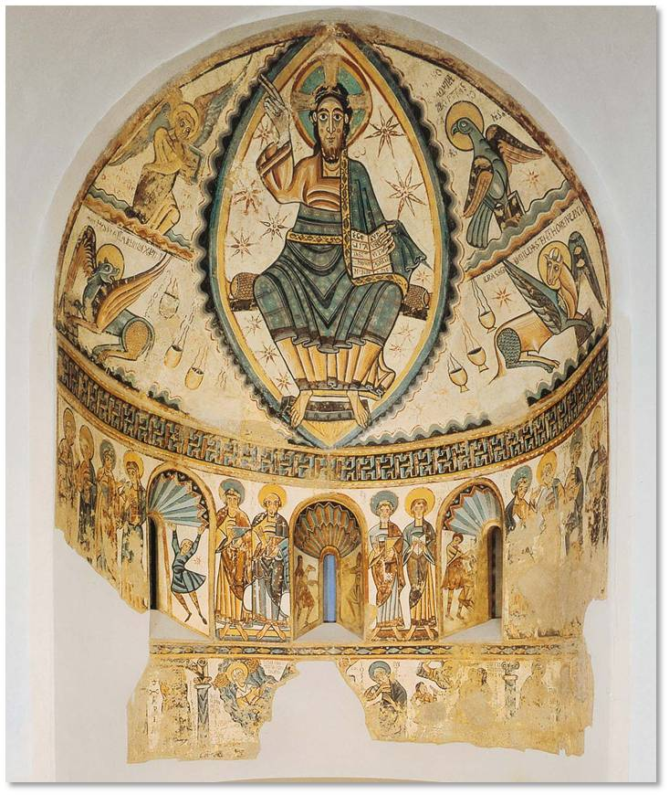 """Christ in Majesty with Symbols of the Four Evangelists"" is a twelfth-century Spanish Romanesque fresco that originally decorated the apse—the circular area behind the altar—of the church of Santa Maria de Mur, which is located in the foothills of the Pyrenees Mountains in Catalonia."