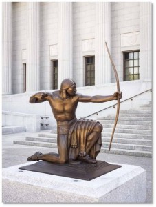 He's called the Indian Hunter but the archer is only one part of this pair of statues outside the Boston Museum of Fine Arts.