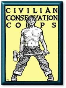 """The CCC, for example, put unemployed, unmarried men to work on soil conservations and reforestation. This government organization was responsible for over half of the public and private reforestation that has ever been done in American history. The corpsmen also, """"dug canals and ditches, built over 30,000 wildlife shelters, stocked rivers and lakes with over a billion fish, restored historic battlefields, and cleared beaches and campgrounds."""