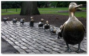 The bronze statues of Mrs. Mallard followed by Jack, Kack, Lack, Mack, Nack, Ouack, Pack, and Quack was installed in October of 1987 – 46 years the book was first published. The nine statues were commissioned by the Friends of the Public Garden and sculpted by Nancy Schön, who also did the Tortoise and the Hare in Copley Square.