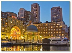 You can't miss the hotel's 60-foot double-arched portico, an impressive and beautiful window onto Boston Harbor. The plaza underneath the arch connects the Rose Kennedy Greenway with the Harborwalk, a marina, a water transportation terminal, a floating stage and the harbor itself. Stand at the center of the and look up. You look all the way through a domed skylight to the cupola at the very top. People do this all day long and it's a popular photographic subject.
