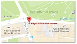 Poe Square at the corner of Charles Street South and Boylston Street is open all the time. Edgar Allen Poe Returning to Boston strides along the bricks at sidewalk level so one can easily miss it. Notice the pages on the ground as well as the plaque on the wall.