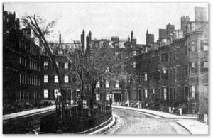 "The development, renamed Pemberton Square in 1838, was actually shaped more like a bow with a curved eastern side. Its three-story red-brick, bow-fronted town homes were planned for Boston's finest citizens. The straight western side had four-story homes with flat facades. In the center of the ""square"" an elliptical garden offered residents shade and privacy."