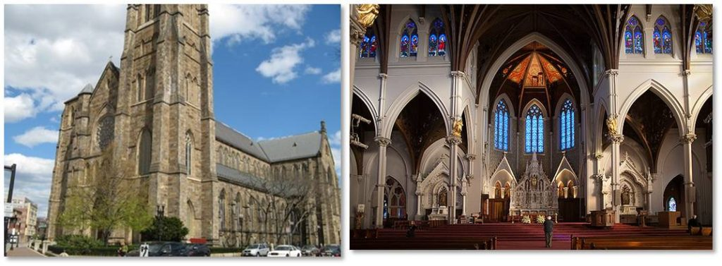 Today's Holy Cross Cathedral was designed in the Gothic Revival style by Patrick Keely, a noted nineteenth-century ecclesiastical architect, whose career produced 16 Catholic cathedrals and 600 other churches. It is constructed of Roxbury puddingstone with gray limestone trim