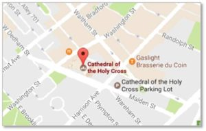 You can find detailed directions to the Cathedral of the Holy Cross on their website.