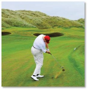 We've all seen the photos of Donald Trump playing golf and powering his drive with a really big butt.