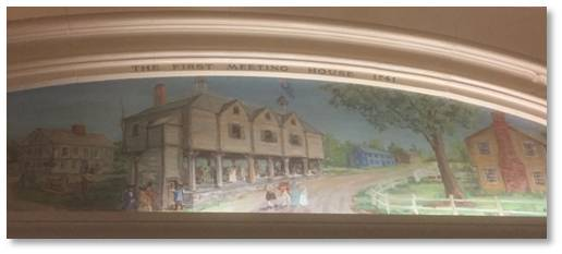 First Meeting House mural, Little Building, arcade, Clarence Blackall, Emerson College