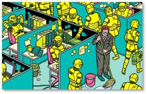 Robot workers replace humans in the office