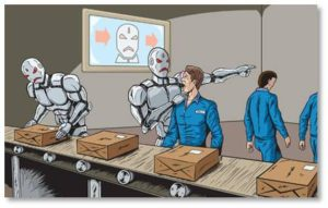 Robots replacing workers on the production line