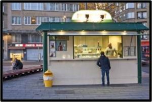 Belgian frites stand, travel posts, virtual vacation