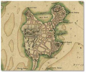 Map of Shawmut Peninsula in 1775