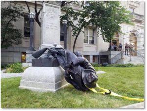 Confederate statue, Durham SC, toppled Confederate soldier