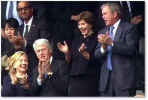 President Bill Clinton, President George W. Bush, HIllary Clinton, Laura Bush