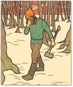 grieving woodcutter