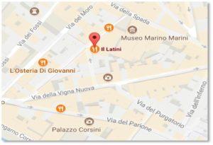Via Dei Palchetti, Florence, Ristorante Il Latini, street map, small world story
