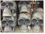 plastic skulls, Halloween decorations