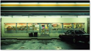 Service mart at night, The Broadcast Circle, Aline Boucher Kaplan