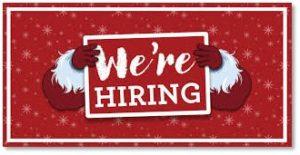 holiday hiring, we're hiring