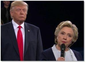 Hillary Clinton, Donald Trump, looming, presidential debate