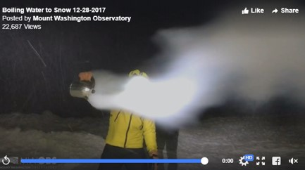 Mount Washington Observatory, boiling water to snow