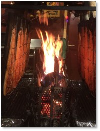 salmon roasting, marche de noel, Paris, Viking River Cruises, Christmas markets
